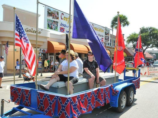 Confederate Sons Association of Florida Indian River Camp 47 decorated a float and marched in Melbourne's 2015 Fourth of July parade.