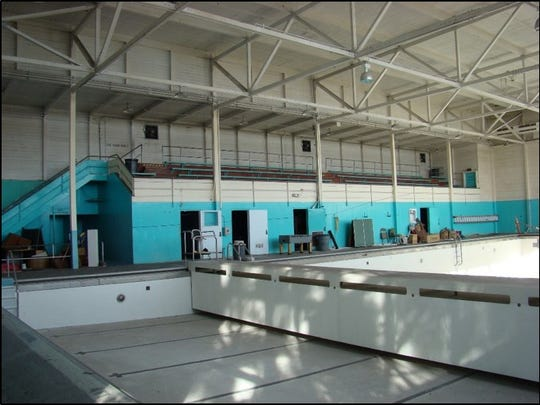 The swimming pool, open is 1948, will soon be replaced with a new community recreation center