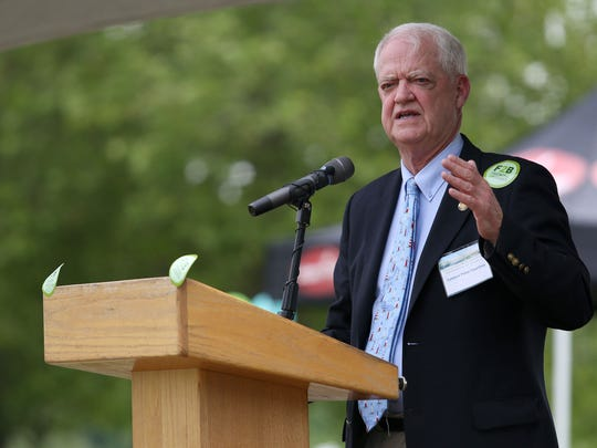 Sen. Peter Courtney speaks during a groundbreaking ceremony for the Peter Courtney Minto Island Bridge at the Riverfront Park Amphitheater, on May 21, 2015, in Salem, Ore.