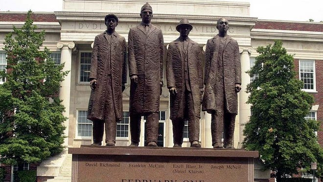 Statue honoring the four students from NC A&T University in Greensboro that conducted a sit-in and were arrested. Although not the first, the sit-in inspired dozens of others.