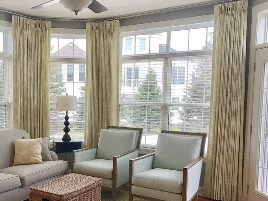 Sleek lines define these window treatments.