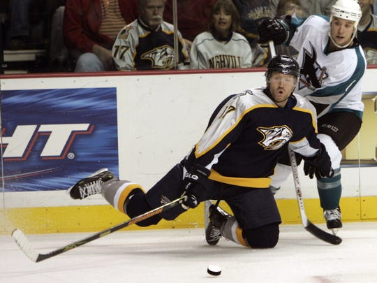 Forward Scott Hartnell played his first six NHL seasons with the Predators.