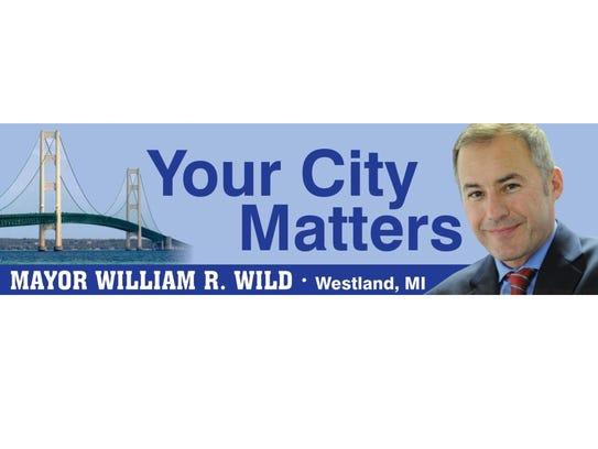 William Wild, mayor of Westland, on a billboard on