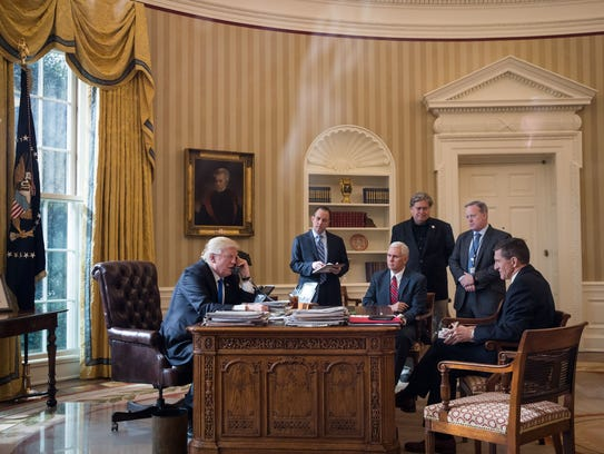 President Trump speaks on the phone with Russian President
