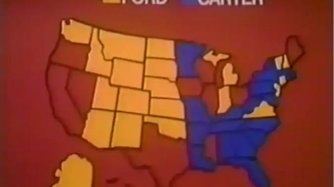 In 1976, NBC used its first on-air election map and the bulbs turned red to designate states won by Democratic nominee Jimmy Carter and blue to designate states won by Republican nominee Gerald Ford. As The Verge points out, that color scheme was based on Great Britain's political system, where the liberal party was associated with the color blue.