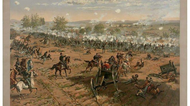 """Hancock at Gettysburg"" by Thure de Thulstrup shows Maj. Gen. Winfield Hancock riding along the Union lines during the Confederate bombardment."