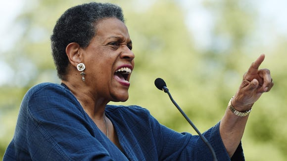 Civil rights activist Myrlie Evers, seen here delivering a speech outside the state Capitol in 2015,  said she was overwhelmed that  the entire Mississippi congressional delegation has nominated her late husband, slain civil rights leader Medgar Evers, for the Presidential Medal of Freedom.