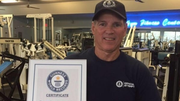 Steve Salmasian from Port St. Lucie has made it to the Guinness Book of World Records for diamond pushups. On Oct. 8, Salmasian did 72 diamond push-ups, breaking the old record of 70.