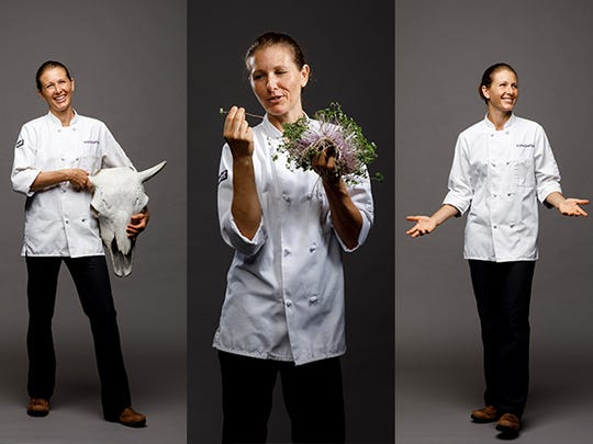 Kristina San Filippo, chef and owner of Purple Spoon in Bonita Springs, is a champion for knowing where your food is coming from. Here, she displays a bison skull from Three Suns Ranch in Punta Gorda, where she finds local, free range bison meat. Opposite page, Kristina holds a find from Florida Microgreens in Cape Coral. Purple spoon is at 25151 Chamber of Commerce Drive.