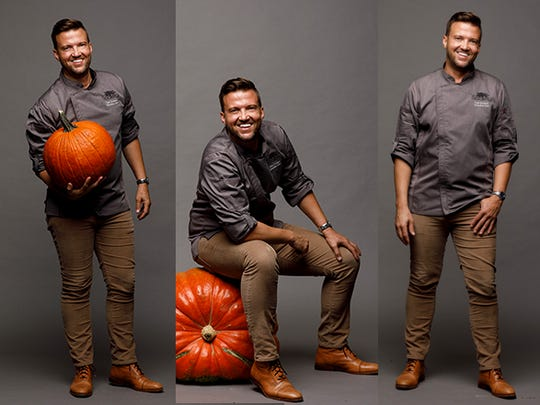 Executive chef at Society, Todd Erickson balances himself on an oversized pumpkin. Society, at 13499 Bell Tower Drive in south Fort Myers, features modern American cuisine made with fresh ingredients.