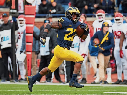 Oct. 28: Michigan running back Karan Higdon rushes