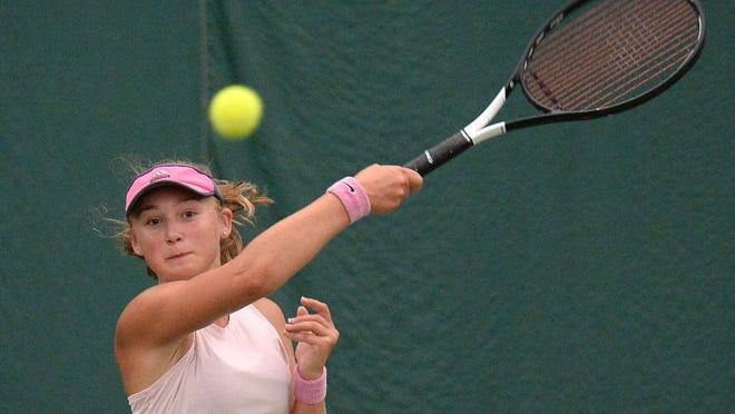 Trinity Fox competes in the 18-and-under girls finals match July 22, 2020 during the Erie City Rec Junior Tennis tournament at Westwood Racquet Club in Millcreek Township. Fox defeated Anna Poranski to win the match.