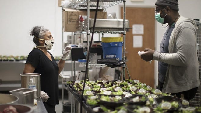 Chefs Sangeeta Lakhani and Matthew Heaggans cofounded Service! this year to feed laid off hospitality workers. The nonprofit is now focused on providing grants to address short-term financial hardships for restaurant industry workers.