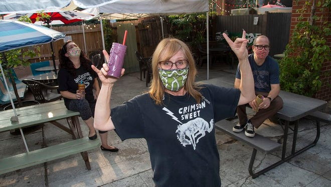 Marcy Mays on the Ace of Cups patio
