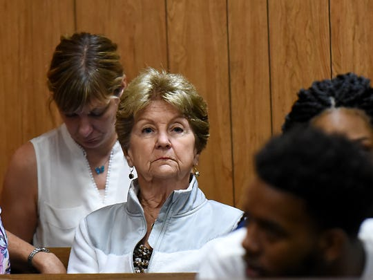 Mary Lane (center), the widow of Edwin Lane, at Shawn Kelly's first court appearance. Shawn Kelly, arrested for leaving the scene of a boating accident in West Milford two years ago in which Lane later died, makes his first appearance in court via a TV monitor. Passaic County Court in Paterson on Friday August 17, 2018.