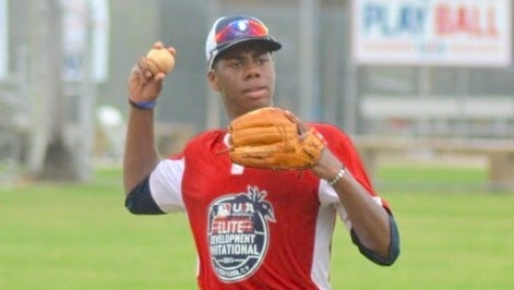 Hunter Greene is shown in this 2015 file photo at Historic Dodgertown camp for elite players. Monday, Greene was the No. 2 overall pick by the Cincinnati Reds in Major League Baseball draft.
