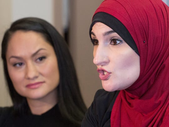 Carmen Perez, left, and Linda Sarsour, co-chairs of the Women's March on Washington,  participate in an interview Jan. 9, 2017 in New York. The march will be held Jan. 21, 2017, the day after Donald Trump's inauguration.