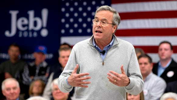 Jeb Bush speaks during a town hall meeting in Derry,