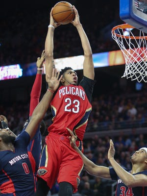 The Detroit Pistons try to defend against the New Orleans Pelicans' Anthony Davis during the fourth quarter Sunday, February 21, 2016 at Palace of Auburn Hills. Davis set a Palace record with 59 points on 24-for-34 shooting.