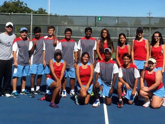 Hirschi's tennis team defeated Big Spring, 14-0, to