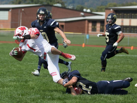 Edwin Lavin of Susquehanna Valley takes down Chandler Whitmarsh on Saturday.