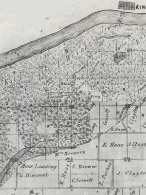 """This detail from an 1864 wall plat map of Tazewell County shows the location of the farm of Abraham Woods (marked as """"A. Woods"""" on the left) in Spring Lake Township. In 1853 Woods was a victim of a horse theft perpetrated by one of the """"Banditti of the Prairie."""""""