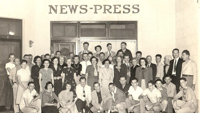 Historic photo of The News-Press staff in 1949 when the newspaper was located in the Collier Arcade building in downtown Fort Myers.