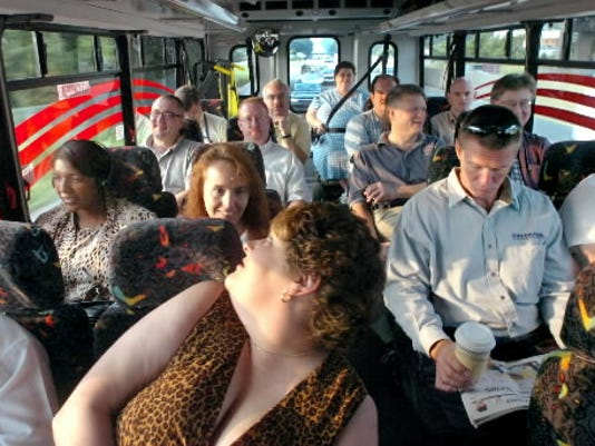 This photo, taken in 2006, shows a packed RabbitExpress bus heading to Harrisburg. Riding a bus is one alternative to commuting alone. (YORK DAILY RECORD/SUNDAY NEWS -- JASON PLOTKIN)