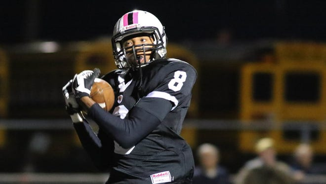 Bridgewater-Raritan's Ricky Tate makes a touchdown catch during the first half of an Oct. 16 game.
