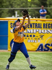 Angelo State's Courtney Barnhill catches the ball against Texas A&M-Commerce during the Division II South Central Super Regional Friday, May 18, 2018, at Mayer Field.