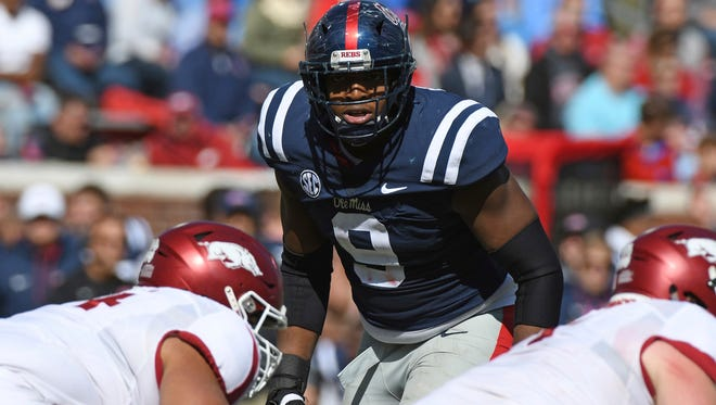 Breeland Speaks (9) benefited greatly from a move to defensive end as a redshirt junior.
