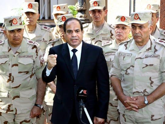 Egyptian President Abdel Fattah al-Sisi gives a speech
