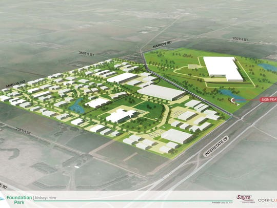 A site plan of the future Foundation Park shows a variety