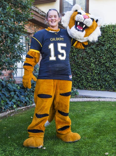 Navey Baker, 21, is decked out in her Gilbert High School tiger mascot uniform. Navey has been performing as mascots for different schools, teams and companies since she was in sixth grade.