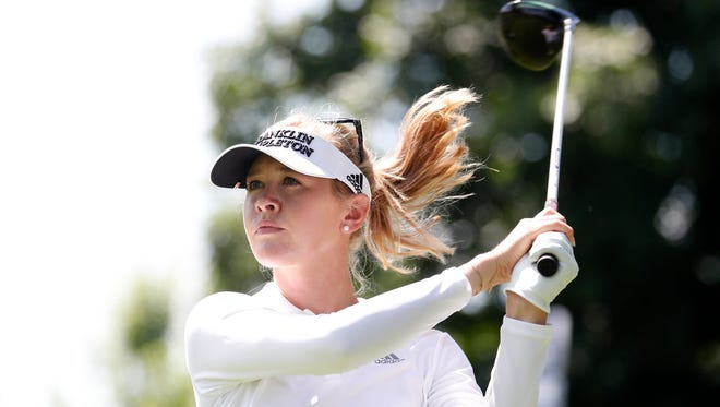 Jessica Korda hits her tee shot on the 8th hole during the first round of the KPMG Women's PGA Championship.