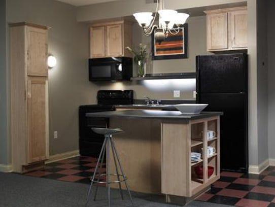 A kitchen in the Woodland Avenue Brickstone building,