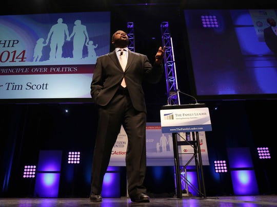Tim Scott, a U.S. Senator from South Carolina, speaks during the Family Leader Summit in Ames on Saturday, Aug. 9, 2014.