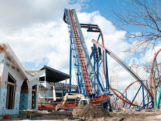 Guests will be lifted 223 feet in the air at a 47-degree angle before dangling over the edge and dropping 214 feet at a 90-degree angle on the new Valravn at Cedar Point.