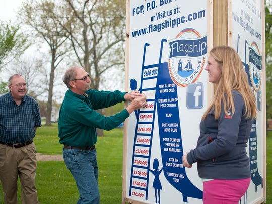 Duane Waite, of Port Clinton Rotary, places a new updated
