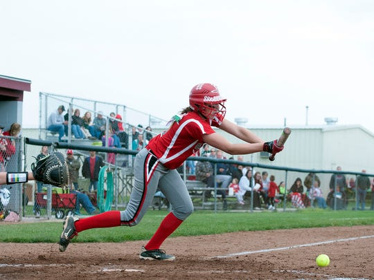 Oak Harbor's Ashley Riley bunts during the Rockets' game against Wauseon on Tuesday.