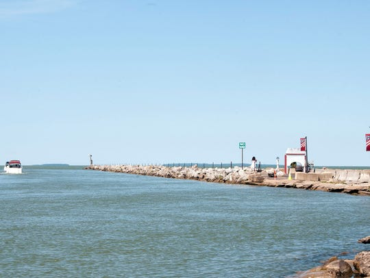 The Port Clinton Portage River harbor east jetty will