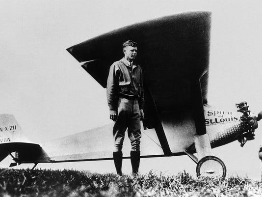 American aviator Charles Lindbergh poses