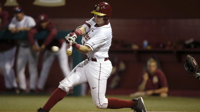 FSU catcher Cal Raleigh finished with three hits and three RBI in the Seminoles' 12-7 win over Kansas.