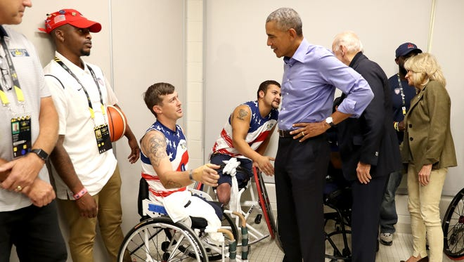 Obama meets competitors from Team USA on day 7 of the Invictus Games 2017 on Sept. 29, 2017, in Toronto.