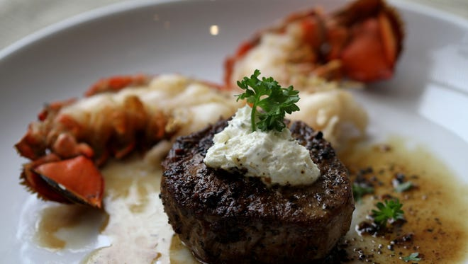 Beef fillet and lobster tail with Boursin cheese.