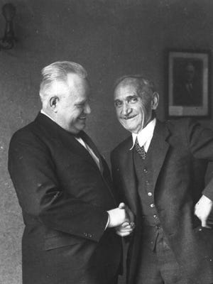 Muncie mayors Rollin Bunch (1914-1919, 1935-1939) and George Dale (1930-1935).