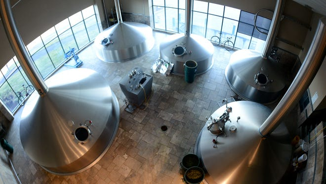 The Huppmann Brewhouse at Deschutes Brewery consists of a mash tun, lauter tun, pre-run tank (and not pictured, kettle, hop strainer and whirlpool).