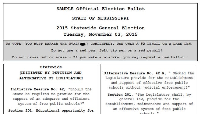 Sample ballot for initiatives 42 and 42A.