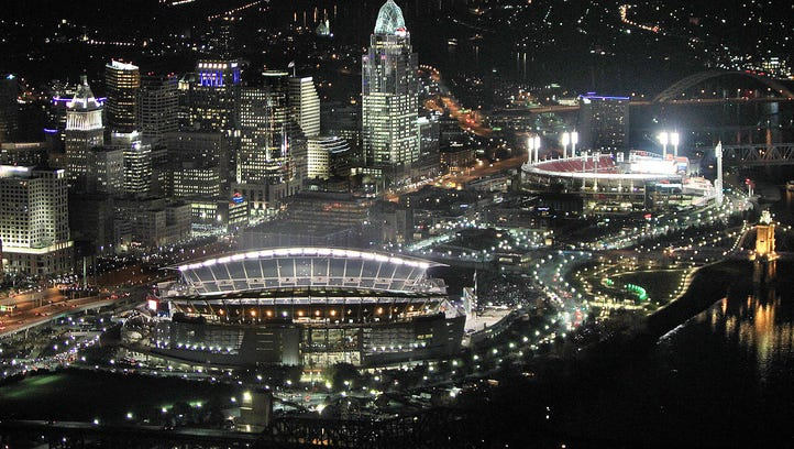 An aerial view of Paul Brown Stadium and Great American