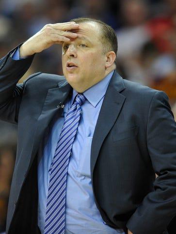 Chicago Bulls head coach Tom Thibodeau and team parting